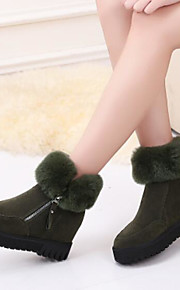 Women's Shoes PU Fall Winter Comfort Boots Flat Heel Closed Toe Mid-Calf Boots for Casual Outdoor Black Coffee Green