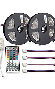 ZDM® 300 светодиоды 2x 5M Светодиодная полоса 1 пульт дистанционного управления 44Keys 4 разъема RGB Можно резать Самоклеющиеся DC 12V