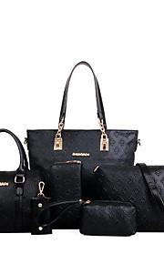 Women's Bags PU Polyester Bag Set 6 Pieces Purse Set Zipper for Casual Office & Career All Seasons Gold Black Beige Dark Blue