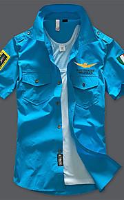 Pánské - Jednobarevné Armáda Košile, Základní Široký límeček Štíhlý Černá XXL / Léto