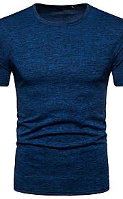 男性用 Tシャツ ベーシック ラウンドネック スリム ソリッド / 半袖