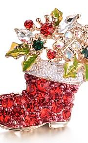 Femme Broche Zircon cubique Doux Inoxydable Rouge Bijoux Pour Noël Cadeau Nouvelle Année