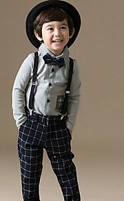 Çocuklar Toddler Genç Erkek Basit Günlük Günlük Dışarı Çıkma Kareli Kırk Yama Resmi Stil Klasik Retro Uzun Kollu Normal Normal Pamuklu Akrilik Polyester Kıyafet Seti Beyaz