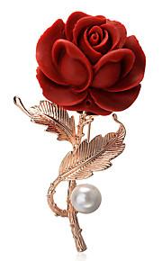 Femme Broche Plaqué or Fleur Rouge Bohème Elégant Européen Bijoux Soirée Quotidien Bijoux de fantaisie