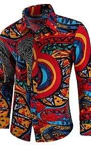 Pánské - Etno Vintage / Cikánský Větší velikosti Košile, Tisk Bavlna Široký límeček Rubínově červená XXL / Dlouhý rukáv
