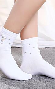 1 Pair Women's Socks Standard Solid Colored Leg Shaping Sweet Style Cotton In-tube EU36-EU42