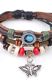 Personalized Cord Calfskin Beads Bracelets Bride Groom Bridesmaid Groomsman Friends Birthday Daily Wear