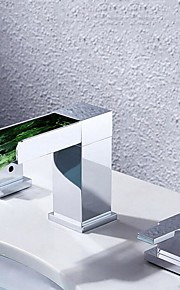 バスルームのシンクの蛇口 - 滝状吐水タイプ LED クロム 組み合わせ式 二つのハンドル三穴