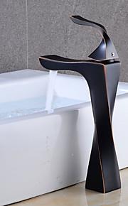 バスルームのシンクの蛇口 - 組み合わせ式 オイルブロンズ センターセット シングルハンドルつの穴