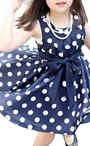 토들러 여아 단 일상 도트무늬 민소매 드레스 화이트
