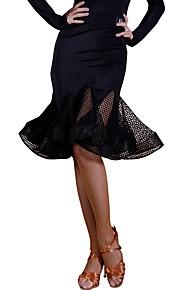 Латино Балетные пачки и юбки Жен. Учебный Ice Silk (искусственное волокно) Кружева Средняя талия Юбки