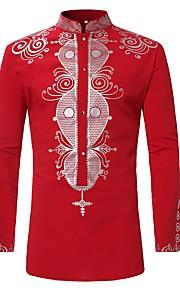Hombre Estampado Camisa, Cuello Mao Tribal Rojo XL / Manga Larga