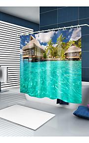 シャワーカーテン&フック コンテンポラリー カジュアル ポリエステル 現代風 ノベルティ柄 機械製 防水 浴室
