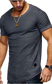 남성용 솔리드 라운드 넥 슬림 플러스 사이즈 티셔츠, 베이직 / 스트리트 쉬크 스포츠 면 화이트 XL / 짧은 소매 / 여름