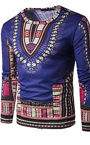 Herrn Einfarbig / camuflaje - Grundlegend / Boho Strand Baumwolle T-shirt, Rundhalsausschnitt Schlank Druck Gelb L / Langarm