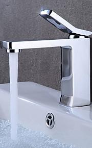 バスルームのシンクの蛇口 - 組み合わせ式 クロム センターセット シングルハンドルつの穴
