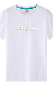 男性用 プリント プラスサイズ Tシャツ 活発的 / ストリートファッション ラウンドネック ソリッド / レタード コットン / 半袖