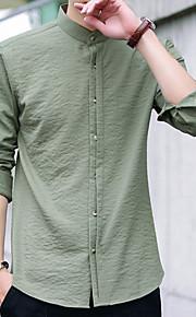 Муж. Рубашка Хлопок Однотонный Черный XXXL / Воротник-стойка / Без рукавов / Длинный рукав