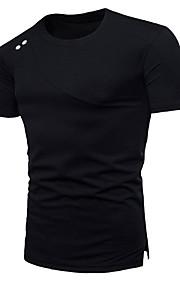 男性用 Tシャツ ラウンドネック ソリッド コットン / 半袖