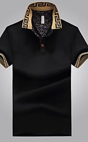 Pánské - Jednobarevné Tričko Košilový límec Černá XXXL / Krátký rukáv