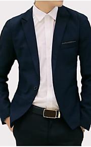 男性用 お出かけ / 週末 ビジネス / ヴィンテージ 春夏 / 秋冬 プラスサイズ レギュラー ブレザー, ソリッド シャツカラー 長袖 レーヨン / ポリエステル / スパンデックス パッチワーク ネイビーブルー / ライトブルー / ネービーブルー XL / XXL / XXXL / スリム