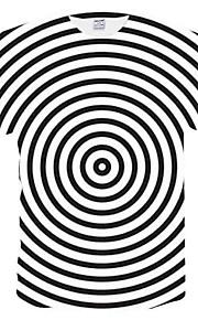 Муж. Сетка Большие размеры - Футболка Круглый вырез Полоски Белый XXL / С короткими рукавами / Лето