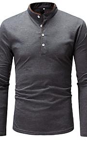 Hombre Básico Algodón Camiseta, Escote Chino Bloques Blanco XL / Manga Larga