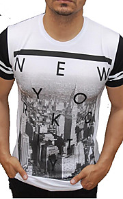 Hombre Activo / Chic de Calle Algodón Camiseta, Escote Redondo Delgado Bloques / Letra Blanco XL / Manga Corta