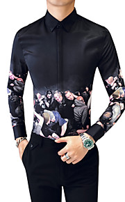 男性用 プラスサイズ シャツ レタード コットン / 長袖
