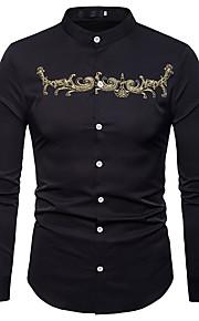 男性用 ワーク - 刺繍 シャツ ビジネス / ヴィンテージ / ベーシック スリム ソリッド / カラーブロック / スタンド / 長袖