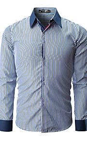Муж. Большие размеры - Рубашка Хлопок Тонкие Классический Полоски / Контрастных цветов Красный XL / Длинный рукав