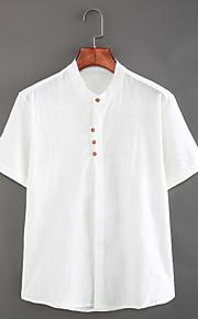 رجالي كتان قميص نحيل رقبة طوقية مرتفعة - النمط الصيني أساسي لون سادة أبيض XL / كم قصير / الصيف