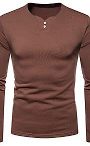Hombre Básico Camiseta, Escote en Pico Un Color Marrón L / Manga Larga