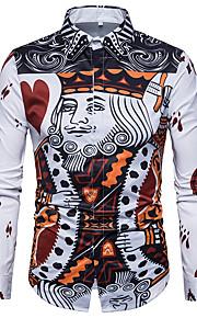 男性用 プラスサイズ シャツ ヴィンテージ 幾何学模様 / 長袖