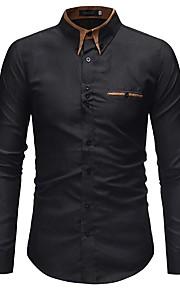 男性用 ワーク シャツ ビジネス カラーブロック コットン / 長袖