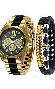 남성용 손목 시계 석영 스테인레스 스틸 블랙 / 화이트 / 블루 크로노그래프 캐쥬얼 시계 멋진 아날로그 사치 뱅글 - 블랙 베이지 블루 1 년 배터리 수명 / 큰 다이얼
