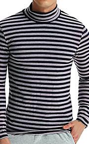 Муж. Футболка Хлопок, Хомут Тонкие Классический Полоски / Контрастных цветов Черный XL / Длинный рукав