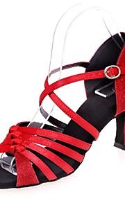 여성용 라틴 슈즈 Synthetics 샌달 버클 플레어 힐 댄스 신발 실버 / 브라운 / 레드