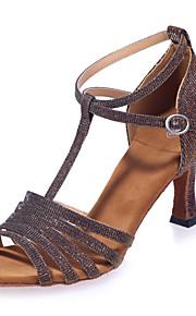 여성용 라틴 슈즈 Synthetics 샌달 버클 플레어 힐 댄스 신발 브라운 / 레드 / 블루