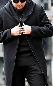 Ανδρικά Καθημερινά Βασικό Μεγάλα Μεγέθη Μακρύ Παλτό, Μονόχρωμο Όρθιος Γιακάς Μακρυμάνικο Μαλλί / Βαμβάκι Μαύρο XXL / XXXL / 4XL