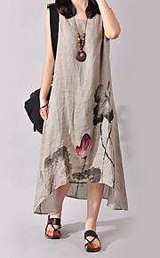 Dámské Větší velikosti Čínské vzory Bavlna Šaty - Květinový, Tisk Asymetrické / Volné