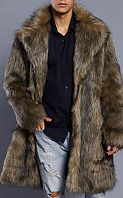 Ανδρικά Καθημερινά Βασικό Μακρύ Γούνινο παλτό, Μονόχρωμο Turndown Μακρυμάνικο Ψεύτικη Γούνα / PU Καφέ XL / XXL / XXXL