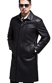 Муж. Повседневные Уличный стиль Длинная Пальто с мехом, Однотонный Фантастические звери Рубашечный воротник Длинный рукав Овчина Черный XL / XXL / XXXL