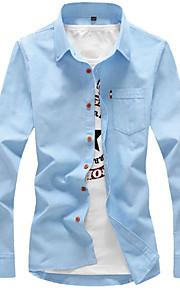 男性用 シャツ ビジネス / ベーシック レギュラーカラー ソリッド コットン / 長袖 / 春 / 秋 / ワーク