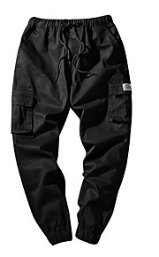 男性用 ストリートファッション プラスサイズ チノパン / カーゴパンツ パンツ - ソリッド ブルー