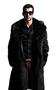 Homme Sophistiqué Hiver Grandes Tailles Maxi Manteau, Couleur Pleine Revers Cranté Manches Longues Fausse Fourrure Noir / Marron XXL / XXXL / 4XL