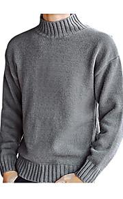 男性用 お出かけ / 週末 ソリッド 長袖 レギュラー プルオーバー, タートルネック ブラック / グレー / ライトブラウン L / XL / XXL
