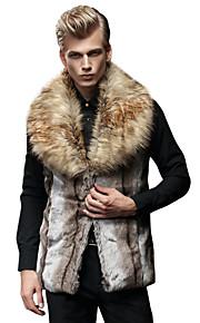 男性用 日常 冬 ベスト, カラーブロック ノッチドラペル フェイクファー ファートリム / パッチワーク Brown XL / XXL / XXXL
