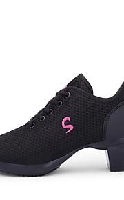 여성용 댄스 스니커즈 메쉬 스니커즈 두꺼운 발 뒤꿈치 주문제작 가능 댄스 신발 화이트 / 블랙 / 레드