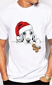 Hombre Básico Estampado - Algodón Camiseta, Escote Redondo Animal / Letra Blanco y Negro Blanco XL / Manga Corta